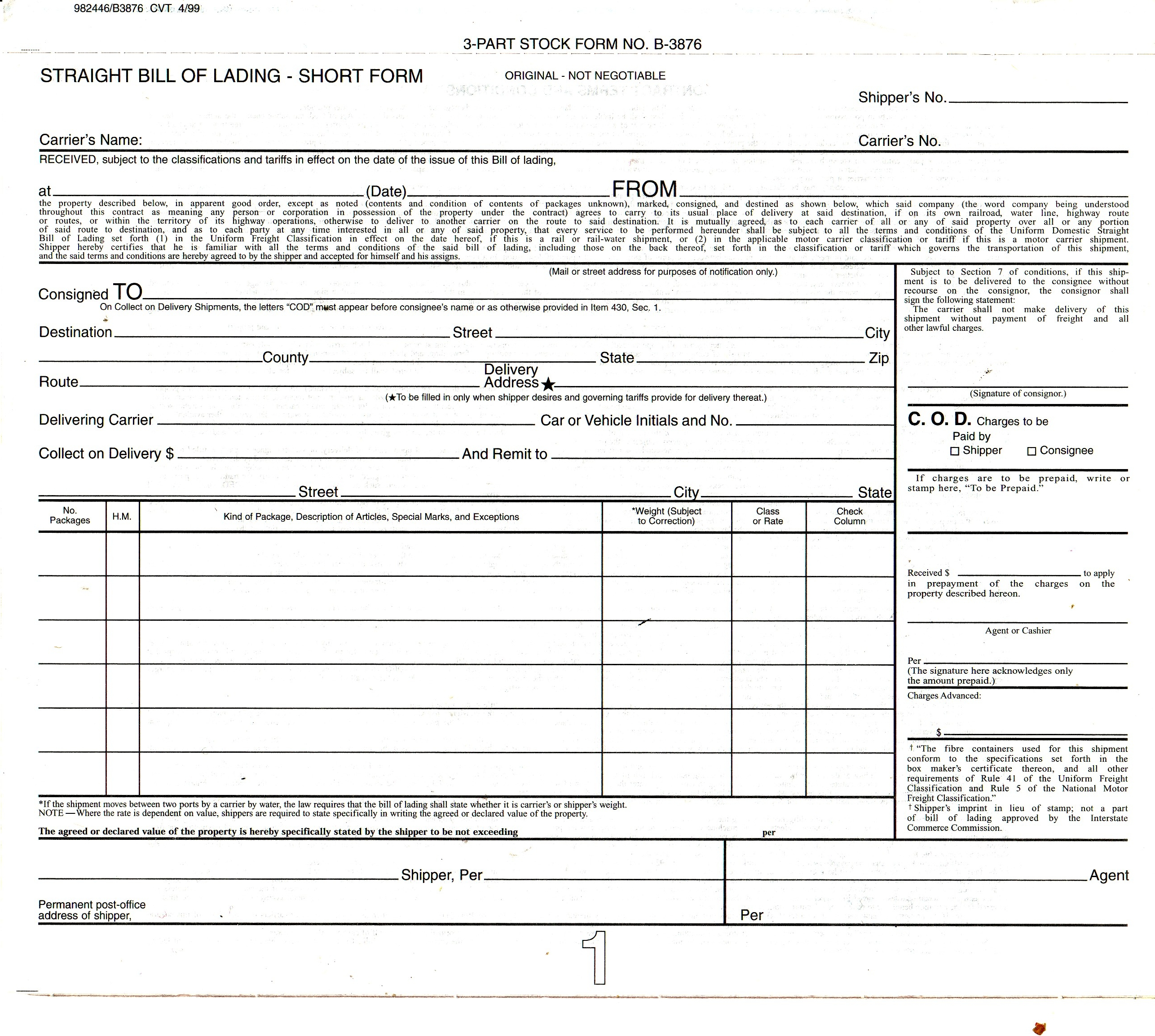 Blank Bill Of Lading Free To Copy From Bigcitydriver Com .  Blank Bill Of Lading Form Template